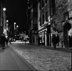 Edinburgh Castlehill 2 (richardjholt) Tags: edinburgh night hasselblad ilford delta3200 film bw 60mm 6x6 120film