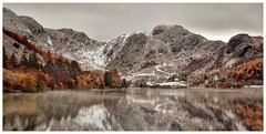 Llyn Crafnant Panorama (busmender1964) Tags: snowdonia llyncrafnant treereflections reflections mountains snow autumnal autumnalcolours winter welshlandscape breathtakinglandscapes landscape waterscape