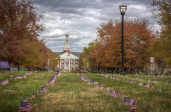 Veterans Day at TTU (donnieking1811) Tags: tennessee cookeville veteransday tennesseetechnologicaluniversity tennesseetech ttu americanflags flags light trees outdoors sky clouds autumn fallcolors building clock canon 60d lightroom photomatixpro hdr