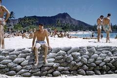 Waikiki Beach Diamond Head 1952 (Kamaaina56) Tags: 1950s waikiki hawaii beach slide