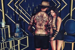 [ 📷 - 168 ] (insociable.sl) Tags: classy ink tattoo champagne golden livingroom room blue gold luxurious luxury hat girl woman female male man boy love bae couple girlfriend edit sl secondlife junaartistictattoo theowl