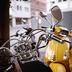 Black v Yellow (samuel-dasilva3) Tags: analog scooter vintage seagull 6x6 medium format 120 film