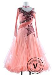 Light Salmon Color Luxury Foxtrot Waltz Quickstep Competition Dress (Venus Dancewear) Tags: ballroomdress ballroomdancedress latindress dancewear ballroom competition dress venus dresses dance quickstep foxtrot waltz