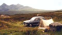 Renault 12 on the Isle of Skye (M McBey) Tags: car mountains skye cuillin renault renault12 tent countryside scotland 1976 nikkormat nikkormatftn kodachrome 50mm