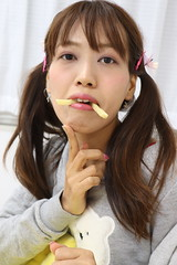 She Fangs You Very Much (emotiroi auranaut) Tags: woman lady girl model beauty cute pretty jagabee potato snack fangs japan ponytails