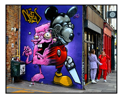 LONDON STREET ART by TOM BLACKFORD & EWAN AGAIN (StockCarPete) Tags: ewanagain disney nickelodeon tomblackford urbanart graffiti mickeymouse streetart londonstreetart saw wallart characters art londonpublicart shoreditch shoreditchart london uk nsfw spongebob mural