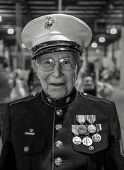 A Proud Marine (crabsandbeer (Kevin Moore)) Tags: event baltimore people marine usa military patriotic uniform wwii man oldman semperfi bw monochrome portrait marinecorps indoor smile medals pride proud service veteran veteransday