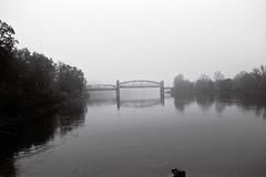 An der Grenze zum Nirgendwo (chipdetty) Tags: blackwhite monochrom bw bnw blackandwhite schwarzweis analog canon eos1000 ilford elbe fog nebel hubbrücke brücke bridge