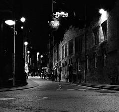 Edinburgh Castlehill 1 (richardjholt) Tags: edinburgh night hasselblad ilford delta3200 film bw 6x6 120film 60mm 503cw