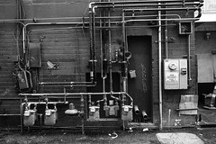 02469376423084-118-19-11-Wall of Gas Meters-1-Black and White (Don't Mess With Jim) Tags: 2019 america fremontstreet fujifilmxt30 fujifilmxf1855mmlens lasvegas nevada november streetphotography usa alleyway architecture autumn downtown fall gasmeter wall
