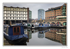 Victoria Quays (Seven_Wishes) Tags: sheffield southyorkshire 2019 jo outdoor photoborder canoneos5dmarkiv canonef24105mmf4lisii sheffieldtinsleycanal narrowboats canalboats barge canal boats overcast reflections water buildings moored victoriaquays straddlewarehouse iquarter hancocklanttower newcastleupontyne tyneandwear uk