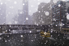 Clear Sailing (aerojad) Tags: eos canon 80d dslr 2019 autumn outdoors city urban chicago snow snowing snowkeh cityscape citylife cityview cta train traintracks trains traintrack chicagoriver river taxi watertaxi boat boats theloop bokeh