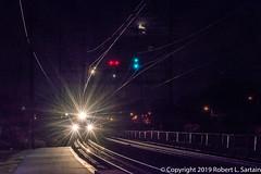 SEPTA 5239, Prospect Park, 2019-10-05 (redheadedrobbie1) Tags: septa amtrak nec northeastcorridor railroad railway railfan moon night nighttime passenger electric commuter rail signals signal