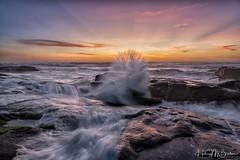 Waves of Rays (Hilary Bralove) Tags: breathtakinglandscapes oregon oregoncoast pacificnorthwest waves ocean nikon nature sunset pacificocean crashingwaves