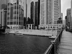 Calm (ancientlives) Tags: chicago chicagoriver illinois il usa travel trips downtown loop river towers architecture buildings skyline skyscrapers city cityscape streetphotography bridge walking blackandwhite bw mono monochrome monday november 2019 autumn