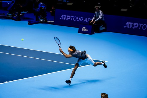 Alexander Zverev hits stunning backhand return during victory over Rafael Nadal at the O2 Arena Nitto ATP Tour Finals 2019