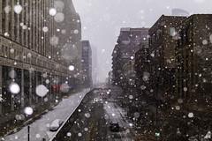Behind the Mart (aerojad) Tags: eos canon 80d dslr 2019 autumn outdoors city urban chicago snow snowing snowkeh cityscape citylife cityview theloop merchandisemart bokeh
