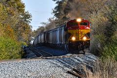 Grinding up the hill. (Shane692) Tags: kcs railroad railfanning railroads railfans rails rail missouri trains grain nikond500 tamron fallcolors