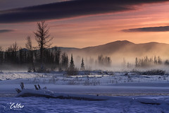 The Sixth Post (Catstar Images) Tags: fog trees sunset mountains river snow cold alberta kananaskis allen bill canon 7d 70200 f4l