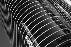 Former Enron Towers Curves (infrared) (dr_marvel) Tags: curves rounded monochrome blackandwhite white black downtown urban texas tx houston curved glass reflections skyward upward skyscrapers enron offices building infrared ir 52weeks2019