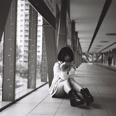 Casual (bdrc) Tags: agfa isolette agnar 85mm f45 prime manual vintage relic classic 6x6 squareformat mediumformat mf jch streetpan 400 blackandwhite monochrome black white malaysianphotographer asdgraphy malaysia foldingcamera street casual people girl portrait sei tsuyusei analog analogue happyplanet asiafavorites