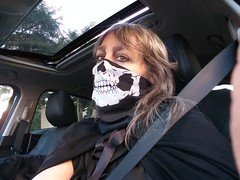 Halloween drive home after work (ok2la) Tags: halloween costume skull skeleton mask ghoul creepy scary