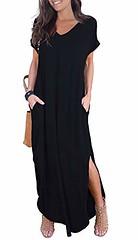 GRECERELLE Women's Casual Loose Pocket Long Dress Short Sleeve Split Maxi Dresses (Shopping Guide 7) Tags: casual dress dresses grecerelle long loose maxi pocket short sleeve split womens