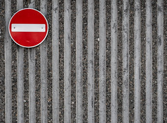 NO ENTRY (ainz1607) Tags: stop sign lines circle concrete red wall texture signs road traffic olympus omd em10 abstract minimalist minimalism simple