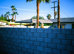 Palm Springs, California (bior) Tags: palmsprings road sunset dusk bluehour pentax645nii velvia mediumformat 120 wall cinderblock backyard