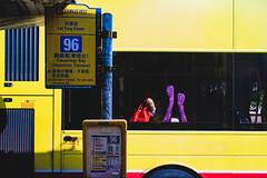 A summer old woman (Scofield Chan) Tags: yellow bus sunshine woman girl street streetphoto hongkong city urban colorful leica leicamini3 happyplanet asiafavorites