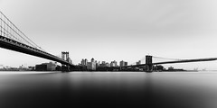 Two Bridges Long Exposure #2 - Brooklyn, New York, 2016 (smithat) Tags: newyork unitedstates manhattan brooklyn manhattanbridge brooklynbridge longexposure bw blackandwhite monochrome monochromatic