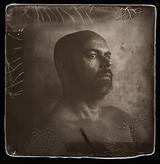 mike (biancavanderwerf) Tags: largeformat 4x5 analogue analog film filmisnotdead dryplate glass homemade portrait portraiture raw blackandwhite bianca square nude man beard bold
