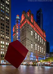 Trinity and US Realty Buildings (20191111-DSC08840) (Michael.Lee.Pics.NYC) Tags: newyork trinitybuilding usrealtybuilding night twilight bluehour longexposure lowermanhattan redcube sculpture publicart joiedevivre markdisuvero architecture cityscape shiftlens sony a7rm4 laowa12mmf28 magicshiftconverter isamunoguchi zuccottipark