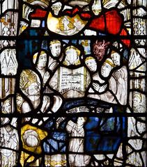 Iustorum Animæ (Lawrence OP) Tags: stmartinlegrand stmartinoftours stainedglass death bishop saint medieval devil soul angels monks