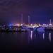 Small marina in Paralia, Greece at night