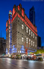 Trinity and US Realty Buildings (20191111-DSC08832) (Michael.Lee.Pics.NYC) Tags: newyork trinitybuilding usrealtybuilding night twilight bluehour longexposure lowermanhattan sculpture publicart joiedevivre markdisuvero architecture cityscape shiftlens sony a7rm4 laowa12mmf28 magicshiftconverter zuccottipark