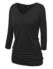 Made By Johnny Women's Crew/V Neck 3/4 Sleeve Drape Dolman Shirt Top with Side Shirring XS-5XL Plus Size-Made in USA (Shopping Guide 7) Tags: by dolman drape johnny made neck plus shirring shirt side sizemade sleeve top usa with womens xs5xl
