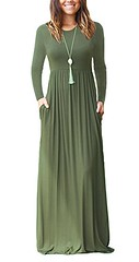 AUSELILY Women Long Sleeve Loose Plain Plus Size Maxi Dresses Casual Long Dresses with Pockets (Shopping Guide 7) Tags: auselily casual dresses long loose maxi plain plus pockets size sleeve with women