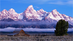 Mormon Row Blues (Sandra Lipproß) Tags: johnmoultonbarn mormonrow grandtetonnationalpark thetetons tetonrange bluehour sunrise mountains barn landscape nature outdoor travel wyoming usa iconic twilight dawn