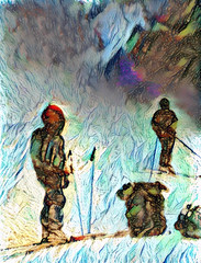 What is there behind the mountain pass? (V_Dagaev) Tags: pass mountain people snow tourist tourism skier hike art winter nature painterly painting painter paintingsfromphotos paint visualdelights digital