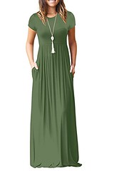 AUSELILY Women Short Sleeve Loose Plain Casual Long Maxi Dresses with Pockets (Shopping Guide 7) Tags: auselily casual dresses long loose maxi plain pockets short sleeve with women