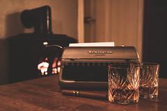 The author's life (Bjarni53) Tags: norway whiskey sigatr sigar smoking writing paper typewriter tabel fire fireplace book books glass glasses nikon nikond7500 sigma 1770 cabin cabininthewoods tree furniture scandinavian home style backround