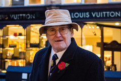 Remembrance Day! (dominiquita52) Tags: streetphotography portrait man stare louisvuitton leeds poppy coquelicot remembranceday