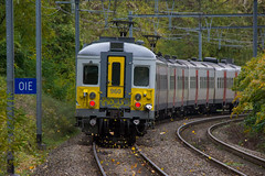 Flying leaves. (Azariel01) Tags: 2019 belgique belgium bruxelles brussels train sncb nmbs tracks voies autumn fall automne feuilles leaves volent flying am66 classique