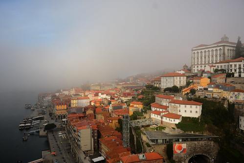 Misty atmosphere in Porto old city