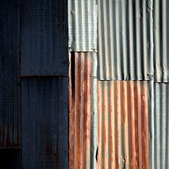 light and shade (fourcotts) Tags: fourcotts square evanston wyoming usa corrugated iron steel shadow light shade rust railway sheds olympus em5