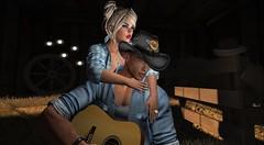 Serenade (antoniohunter55) Tags: illuzion barn fun backdrop signature gianni maitreya bento catwa secondlife sl nomatch hair amitie couple play guitar pose dallass indian hat cowboy straw hay shadows
