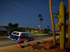 Three-Tone (oybay©) Tags: suncitywest arizona rockspringsdr street road cactus car automobile buick color colors colorful evening dusk light tree palmtree twotone
