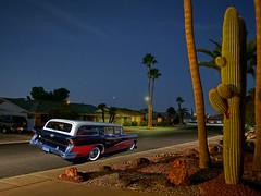Three-Tone (oybay©) Tags: suncitywest arizona rockspringsdr street road cactus car automobile buick color colors colorful evening dusk light tree palmtree twotone