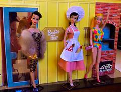 BARBIE-Q PARTY! (ModBarbieLover) Tags: barbie vintage barbecue brunette montgomeryward 1972 1966 1964 dreamhouse mattel fashion doll toy swim brocade sheath dress mink